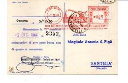1960 Affrancatura Meccanica Rossa EMA Freistempel Genova HOUGHTON Olii E Sali Antiruggine Sgrassanti Lubrificanti - Affrancature Meccaniche Rosse (EMA)
