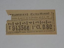 Ancien Ticket Omnibus, Autobus, Tramway, Ticket Metro. - Tramways