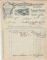 Facture Illustrée 9/10/1905 SIMON PREUX Meubles Toilettes Lavabos Marbre AUTUN Saône Et Loire - France