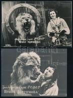 Orosz Oroszlánszelídítő Nőt ábrázoló Fotók, 2 Db, Hátoldalon Aláírással, 9×14 Cm - Autres Collections