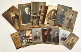 Cca 1900 Régi Portrék, 16 Db Keményhátú Fotó Különféle Magyarországi Műtermekből (Mai és Társa, Budapest; Alpár Henrik,  - Autres Collections