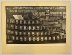 1949 M. Áll. Gépipari Középiskola Felnőtt Tagozat Tanárai és Végzett Növendékei, Kistabló, Nevesített Portrékkal, 19x29  - Autres Collections