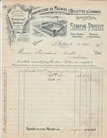 Facture Illustrée 13/12/1905 SIMON PREUX Meubles Toilettes Lavabos Marbre AUTUN Saône Et Loire - France