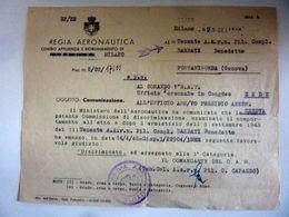"""Lettera """"REGIA AERONAUTICA  - DICRIMINAZIONE TENENTE ARMISTIZIO 8 SETTEMBRE 1943"""" Milano, 25 Settembre 1946 - Documenti Storici"""