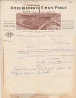 Facture Illustrée 22/9/1932 SIMON PREUX Meubles Ameublement AUTUN Saône Et Loire - France