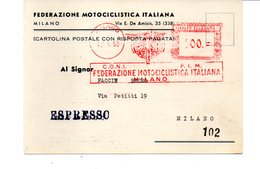 1959 Affrancatura Meccanica Rossa EMA Freistempel Milano FIM Coni Fedreazione Motociclistica Italiana Moto Motorrad - Affrancature Meccaniche Rosse (EMA)