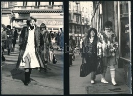 Cca 1980 Budapesti Utcafotók, Hölgyekkel, 4 Db, 18x12 Cm - Autres Collections