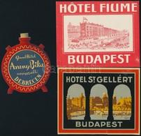 3 Db Régi Bőröndcímke (Arany Bika Debrecen, Hotel Fiume Budapest, Hotel St. Gellért) - Publicités