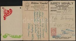 3 Db Számolócédula (Globus, Rikker Vendel, Imrey Mihály) - Publicités