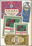 Cca 1910-1940 Schrank Béla és Ödön Italcímkék, 5 Db, Közte : Ürmös, Planet Rum, Finom Málnaszörp 2 Db, Griotte Brandy, 8 - Publicités