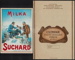 2 Db Csokoládépapír és Csokoládéreklám (Milka Suchard, Csemege Töltött Csokoládé Punch) - Publicités