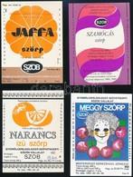 Cca 1983 21 Db Szob Gyümölcsfeldolgozó Szövetkezet Szörp Címke, 7 Féle, 10x7,5 Cm - Publicités
