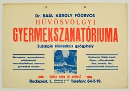 Cca 1920 Hűvösvölgy Dr. Baál Károly Főorvos Gyermekszanatóriuma Reklámtábla, Karton, 33x50 Cm - Publicités