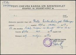 1939 Pesti Chevra Kadisa Igazolás, Balassagyarmat Deutsch Dávid Rabbi által Aláírt Születési Igazolvány. - Other Collections