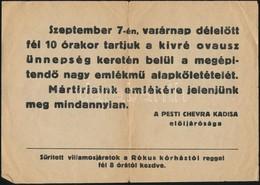 A Pesti Cherva Kadisa Meghívója Emlékmű Alapkőletételére - Other Collections