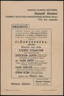 1946  A Magyar Cionista Szövetség Meghívója Előadásra - Other Collections