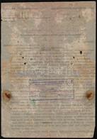 1944 Balatonakarattyai Csendőr Különítmény Jelentése Zsidóbarát Tevékenységről. Megviselt Papíron - Other Collections
