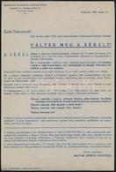 1943 Magyar Cionista Szövetség Felhívása A Sékel Megváltására. 19x28 Cm - Other Collections