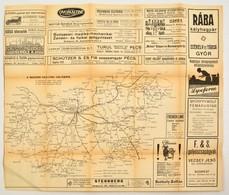 Cca 1920-1940 Magyar Vasutak Hálózata, Rengeteg Korabeli Reklámmal, Szakadással, 27x39 Cm - Maps