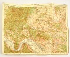 Vác és Diósjenő Térképe, Lépték Nélkül, A Hajtások Mentén Kis Sérülésekkel, 40,5×52 Cm - Non Classés