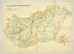 Magyarország Autóbuszhálózata, MÁVAUT-térkép, Hajtások Mentén Kis Szakadásokkal, 58×80 Cm - Non Classés