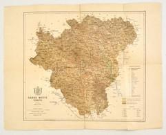 1885 Sáros Megye Térképe, Terv.: Gönczy Pál, 1:225000, Bp., Posner Károly Lajos, A 'Magyarország Megyéinek Kézi Atlasza' - Maps