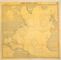 1960 North Atlantic Ocean, Nagyméretű Térkép, Hydrographic Office, A Hajtások Mentén Kis Sérülésekkel, 85×80 Cm - Non Classés