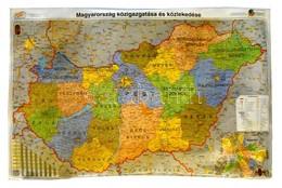 Magyarország Közigazgatása és Közlekedése Nagyméretű Laminált Térkép 120x100 Cm - Non Classés