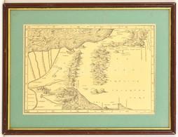 Judea, A Szentföld Térképe. XVI. Sz.-i Metszet Modern Lenyomata üvegezett Keretben./ Map Of The Holy Land. 45x34 Cm - Maps