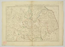 Paolo Santini: Castello, Perousia, Umbria, Orvieto és Nápoly Térképe. Carte De L'Etat De L'Eglise... Színezett Rézmetsze - Maps