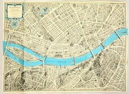 1963 Budapest Távlati Térképe, Belső Terület. A Műemlékek, Emlékművek és Kulturális Intézmények Feltüntetésével. Tervezt - Maps