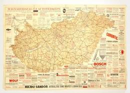 Cca 1930-1940 Magyarország új Autótérképe. A Hátoldalon Utcanévjegyzékkel. Korabeli Reklámokkal. Bp., Huschlt-nyomda, A  - Maps