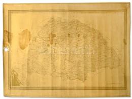 Cca 1890 Kartus Nélküli Nagyméretű Magyarország Térkép Vászonra Vonva. Sérült. Kogutowitz M. Földrajzi Intézet. 1:900 00 - Maps