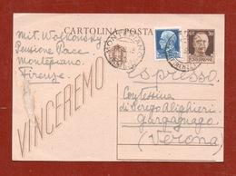 ELENA WOLKONSKY CARTOLINA POSTALE  AUTOGRAFA 11/9/43 DA MONTEPIANO A MASSIMILLA SEREGO ALIGHIERI L' EREDE DI DANTE - Autografi
