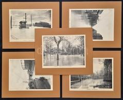 5 Db Nyomat Az 1910-es Párizsi árvízről, Paszpartuban, 23×17 Cm - Non Classés