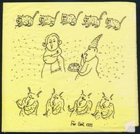 Für Emil (1967- ): Macskák és ördögök, Tus, Szalvéta, Jelzett, 16×17 Cm - Non Classés