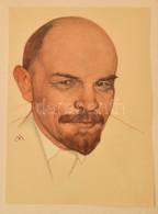 Lenin Portré, Nyomat Mappában, 33×24 Cm - Non Classés