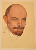 Lenin Portré, Nyomat Mappában, 33×24 Cm - Old Paper