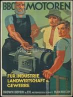 G. Köhler (?-?): BBC Motoren Mannheim, Reklám Kisplakát, 28,5x21 Cm / German Industrial Engine Advertisement Poster, 28, - Autres Collections
