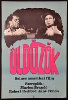 1983 Mayer Gyula (1942-2002): Üldözők, Amerikai Film Plakát, Szereplők: Marlon Brando, Robert Redford, Jane Fonda, 55x38 - Other Collections