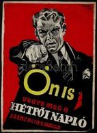1930 Pál György (1906-1986):Ön Is Vegye Meg A Hétfői Napló Szenzációit,  Reklám Plakátterv, Vegyes Technika, Papír, Jelz - Other Collections