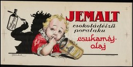 Cca 1920 Jemalt Csokoládé ízű Csukamájolaj Reklám Plakát, Jelzett (v. Ferenchich), Globus Rt. 21x45 Cm - Other Collections