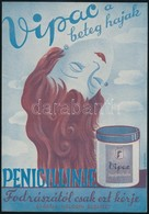 1930 Vipac Hajifjító Krém, Jelzett (Csirkay) Kisplakát, Szép állapotban, 24×17 Cm - Other Collections