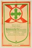 Cca 1935 Nyilaskeresztes Párt Plakátja / Hungarian Nazi (arrow-cross) Party Poster. 31x48 Cm - Other Collections