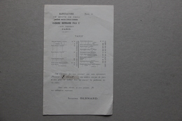 Tarif Manufacture De Gants De Peau Isidore Bernard Fils Sr à Paris, XIXe S. - Textile & Vestimentaire