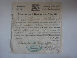 """Quietanza """"ASSICURAZIONI GENERALI IN VENEZIA"""" 1877 - Italia"""
