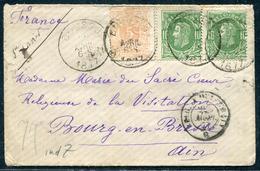 BELGIQUE - N° 28 + 30 (2) / LETTRE DE BOUSSU LE 22/4/1877 POUR BOURG - TB - 1869-1883 Léopold II