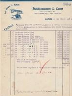 Facture Illustrée 1/4/1940 Erts CANET Bides à Sabots Au Japonais AUTUN Saône Et Loire - France