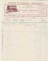 Facture Illustrée 5/7/1923 Maison JOUAN Camionnage Déménagements AUTUN Saône Et Loire - France