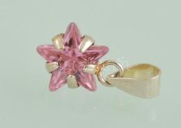 Ezüst(Ag) Csillag Formájú Függő, Rózsaszín Kővel, Jelzett, H: 1,5 Cm, Bruttó: 0,7 G - Jewels & Clocks